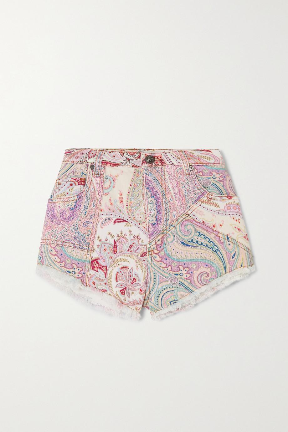 Etro Short en jean à imprimé cachemire effilé