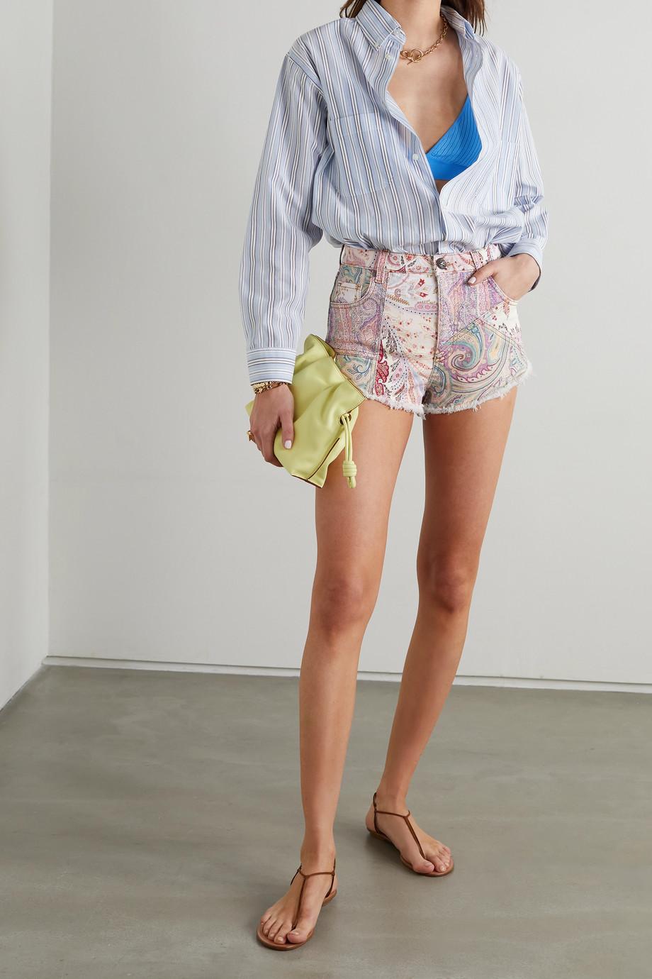 Etro Frayed paisley-print denim shorts