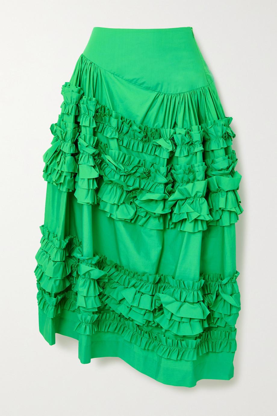 Molly Goddard Otis asymmetric ruffled cotton midi skirt