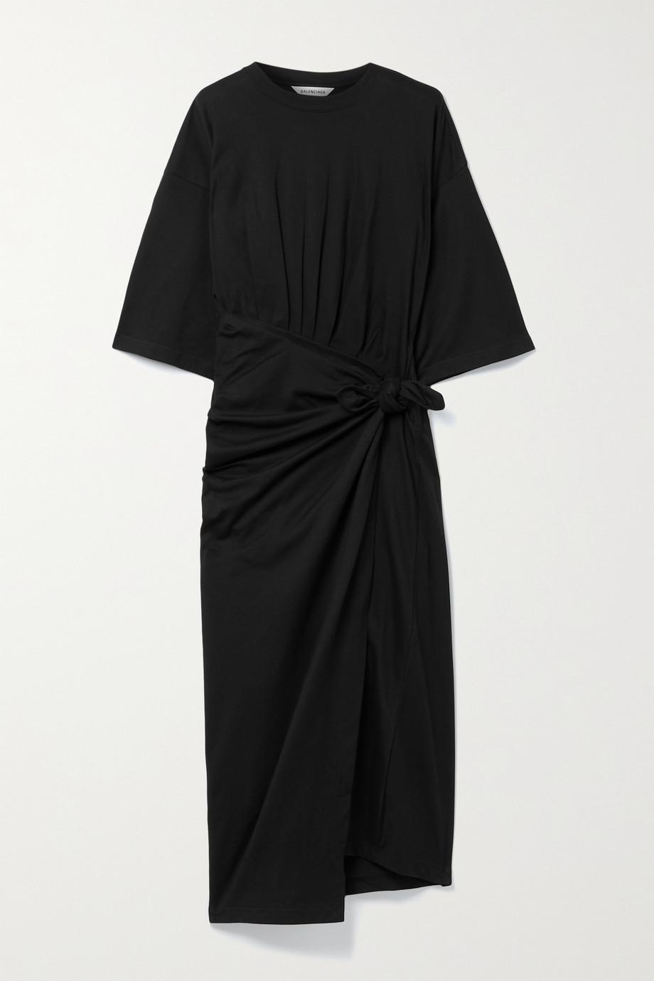 Balenciaga Robe portefeuille asymétrique en jersey de coton