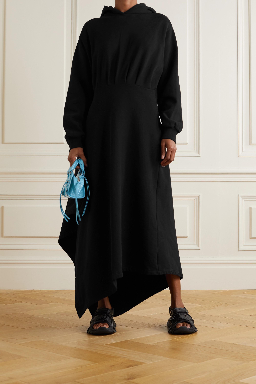 Balenciaga Asymmetrisches Wickelkleid aus Baumwoll-Jersey mit Kapuze