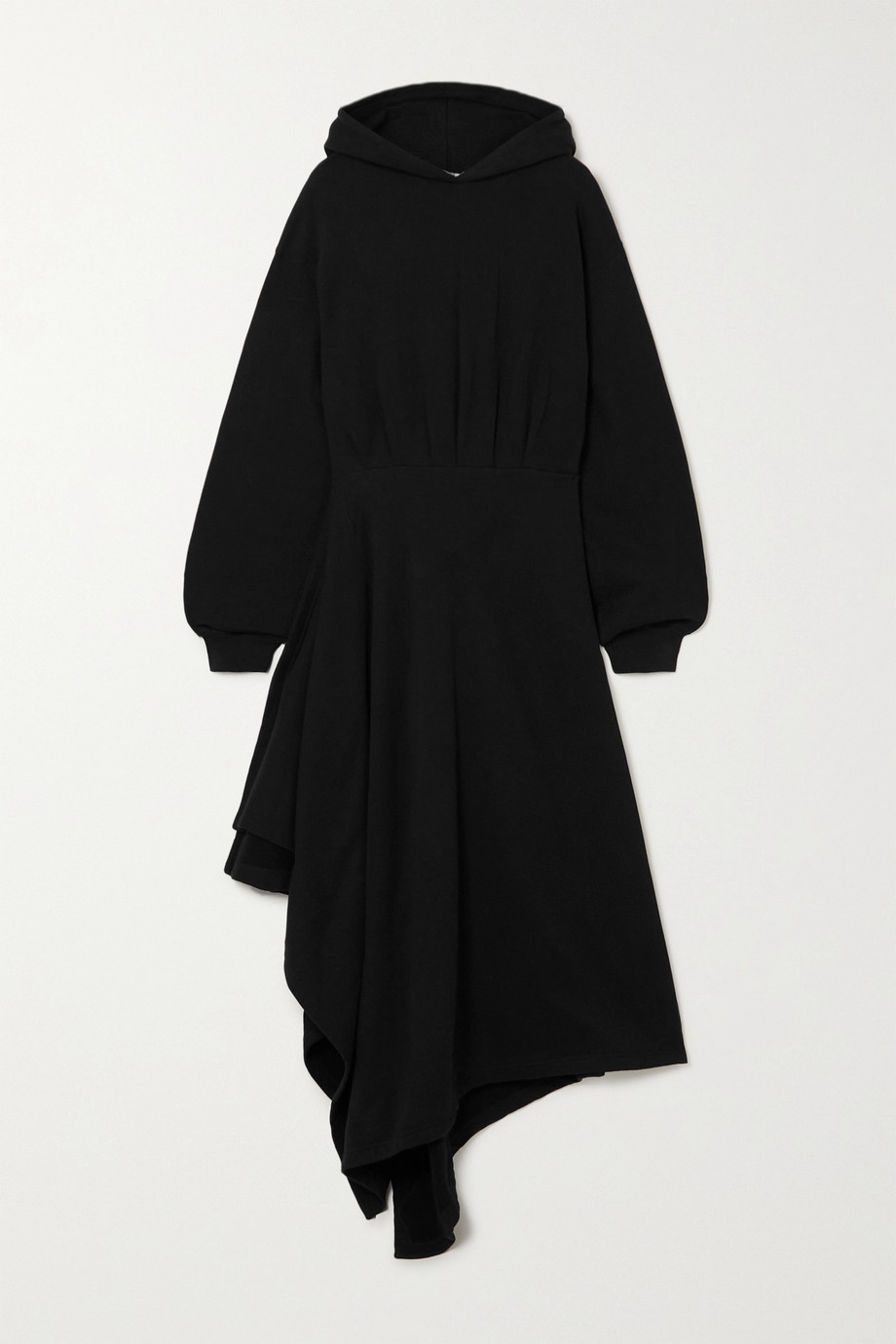 Balenciaga Robe portefeuille asymétrique à capuche en jersey de coton