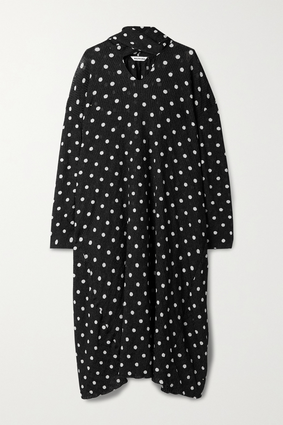 Balenciaga Robe midi oversize en mailles côtelées à pois et à découpe