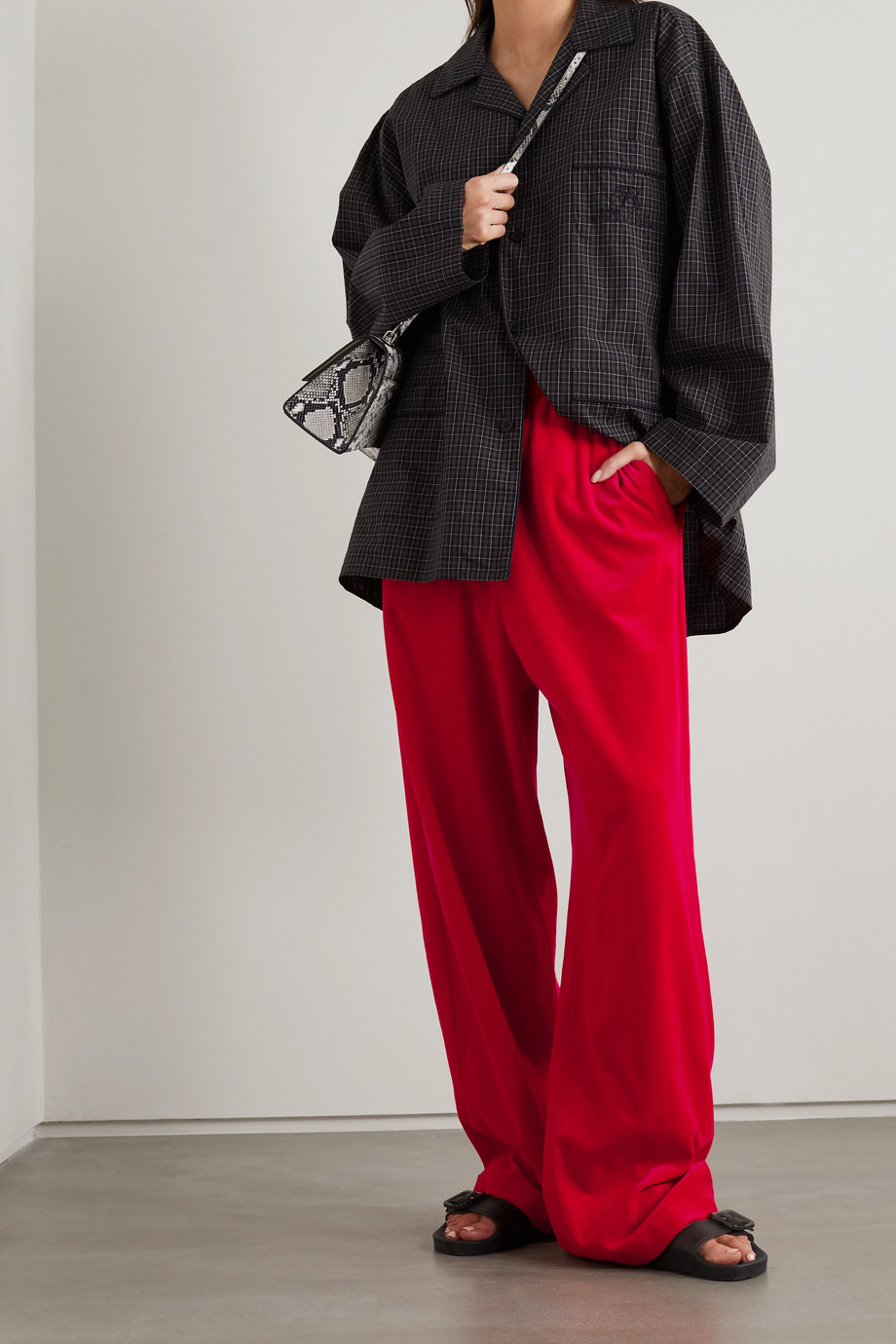 Balenciaga Cotton-blend velour track pants