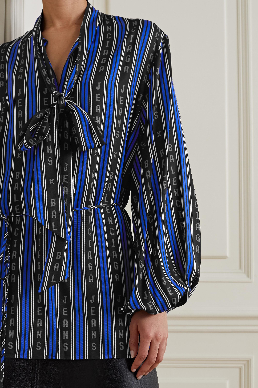 Balenciaga Tie-neck striped twill wrap top