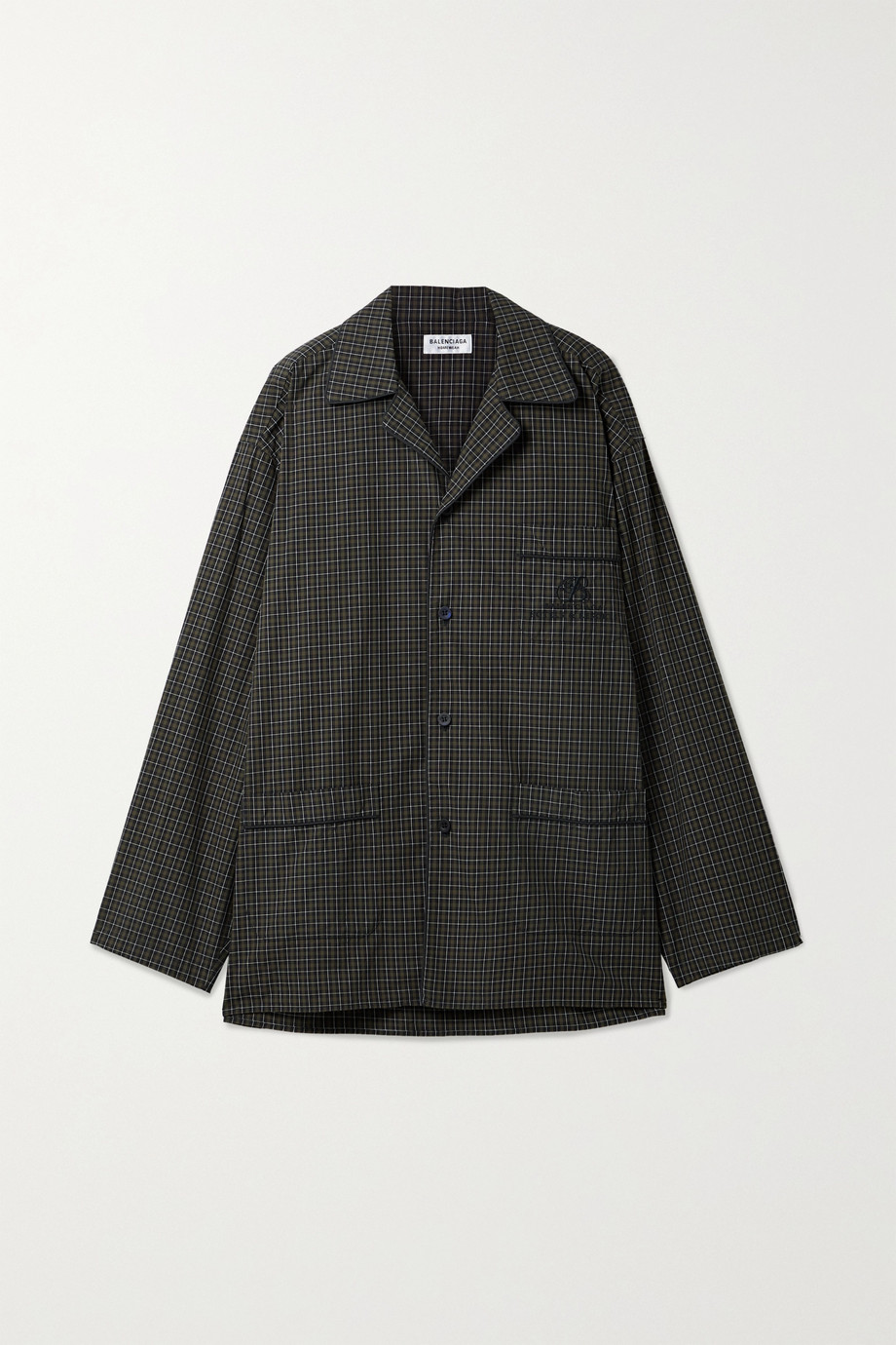 Balenciaga Chemise oversize en popeline de coton à carreaux et à broderies