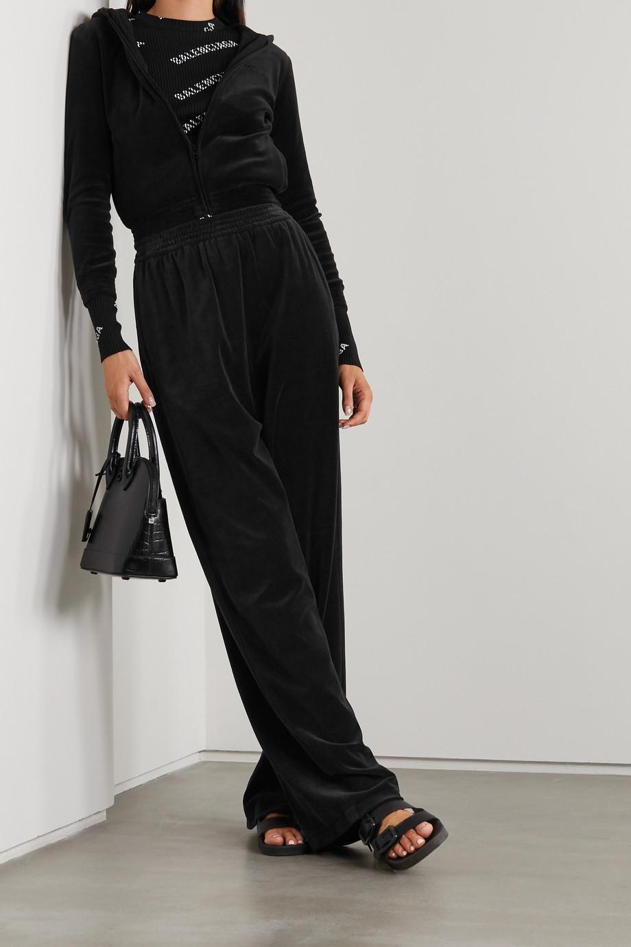 Balenciaga Sweat à capuche raccourci en velours de coton mélangé à broderies