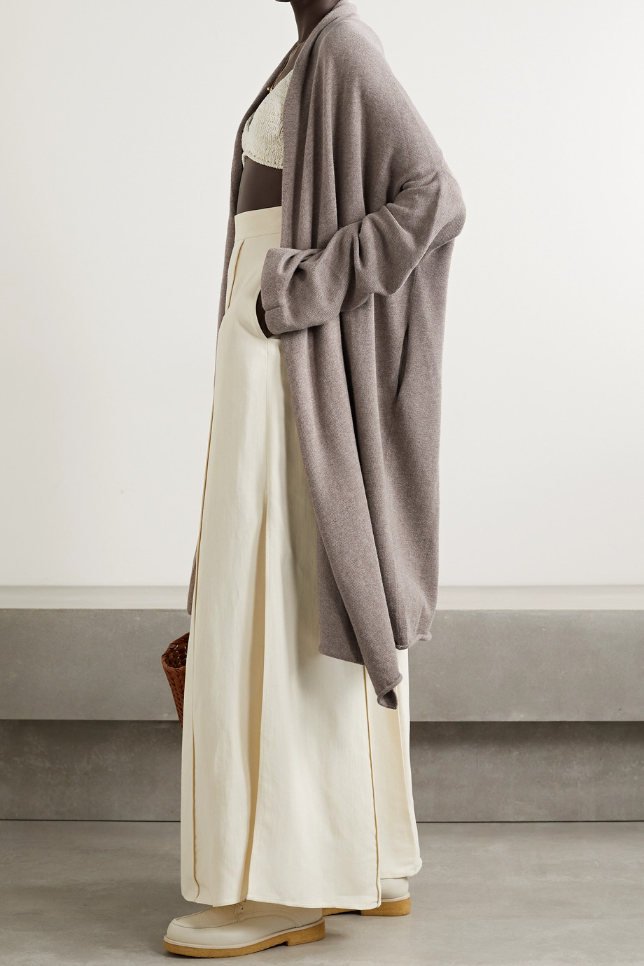 Lauren Manoogian Asymmetric Pima cotton and alpaca-blend cardigan
