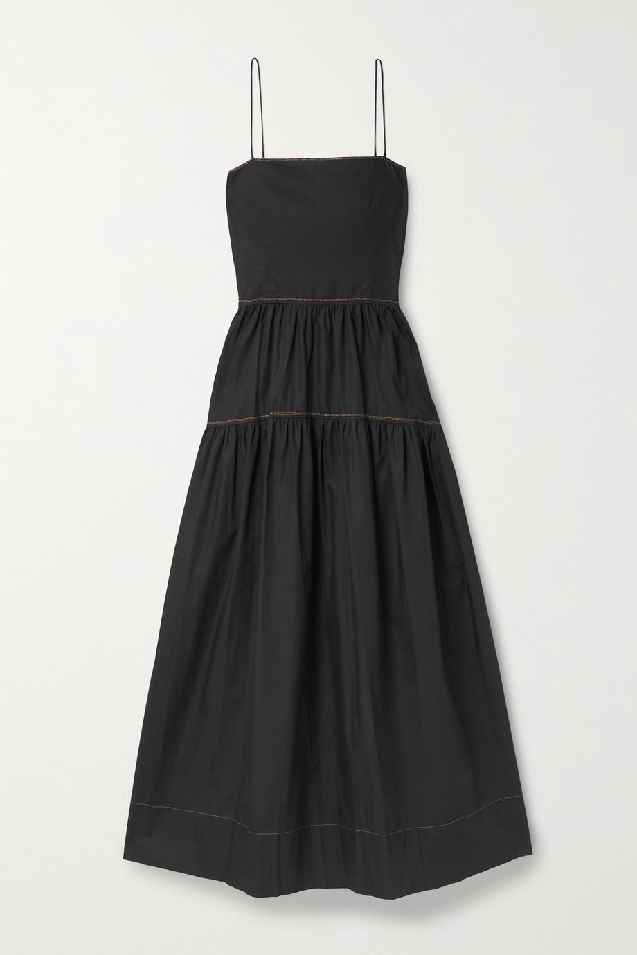 Bassike Open-back tiered cotton-poplin dress