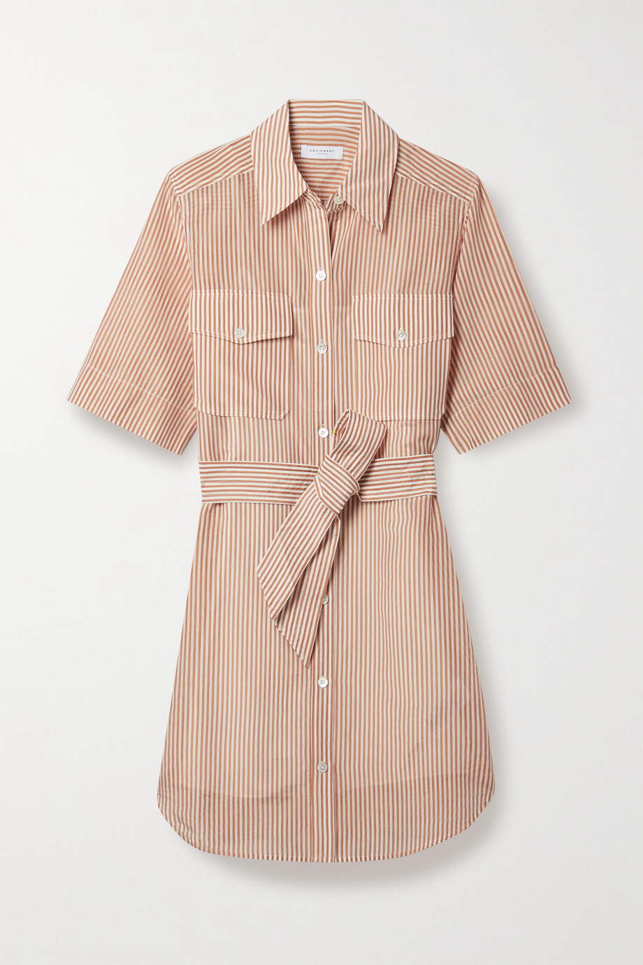 EQUIPMENT Amadee belted striped cotton and silk-blend shirt dress