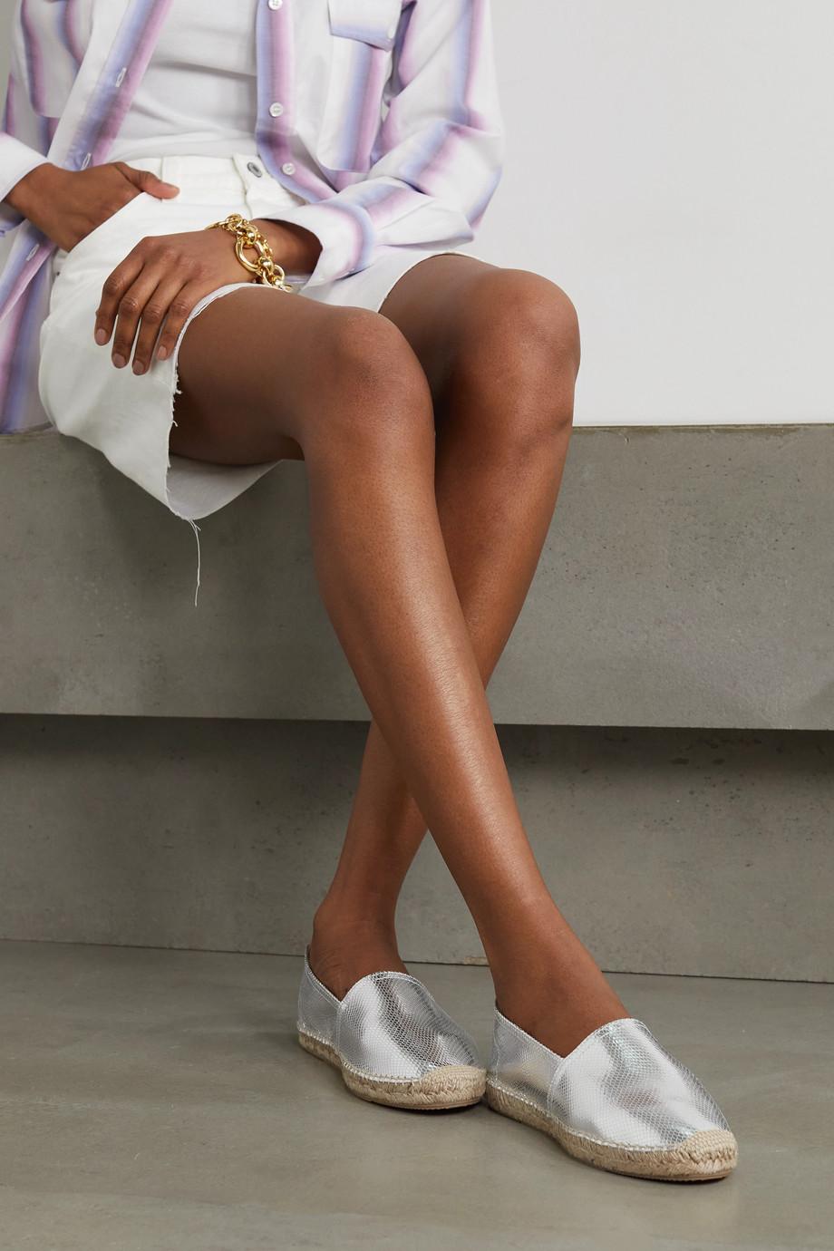 Isabel Marant Chaussures plates façon espadrilles en cuir effet serpent métallisé Canae
