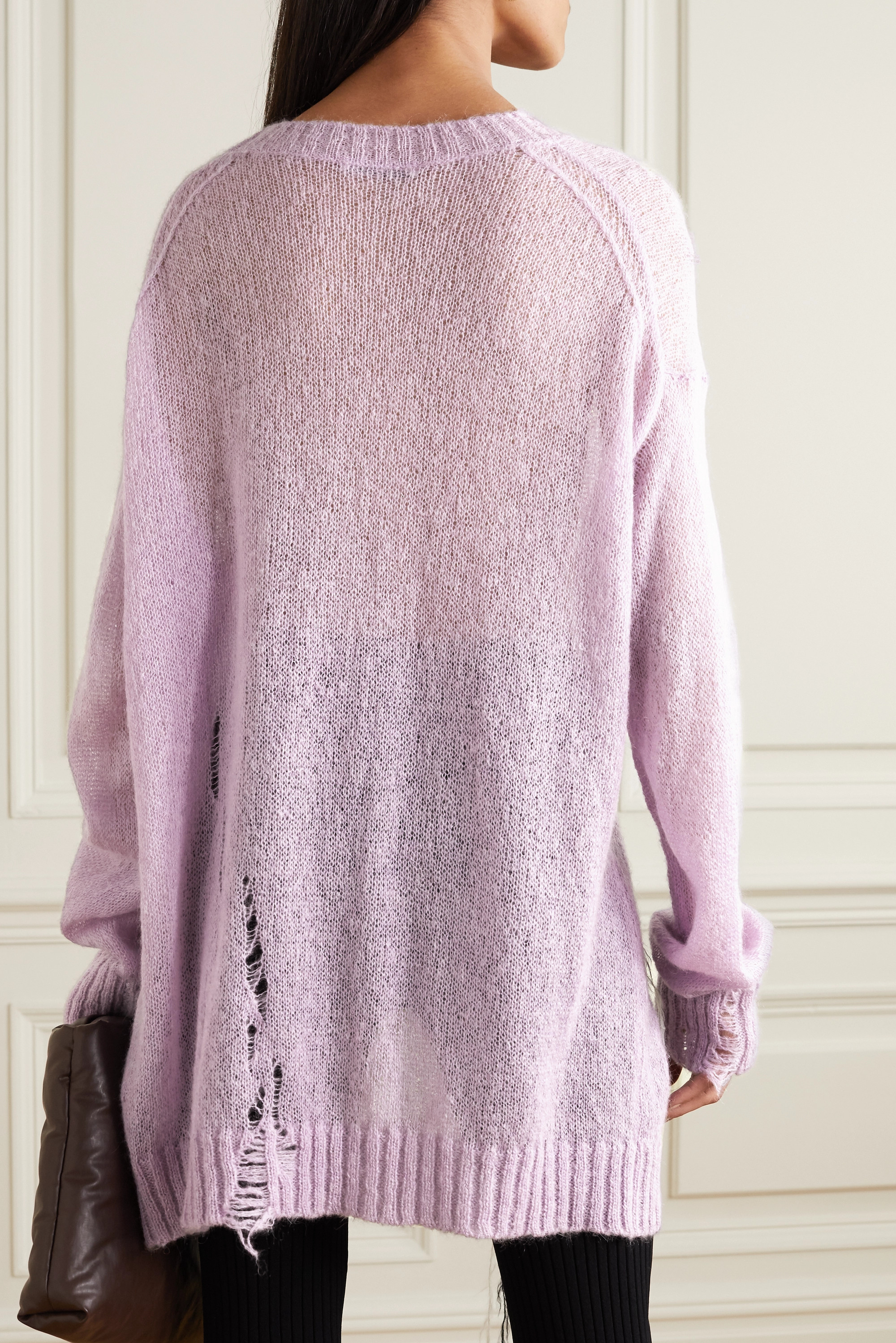 Acne Studios Oversized distressed argyle knitted sweater