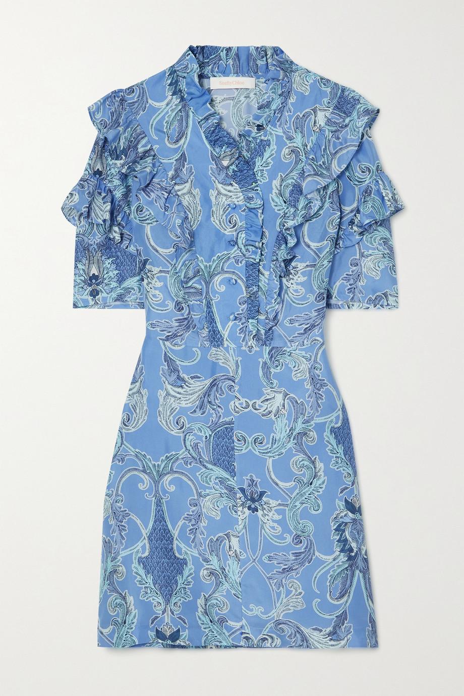See By Chloé Ruffled printed silk mini dress