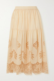 See By Chloé Pintucked broderie anglaise cotton-voile midi skirt