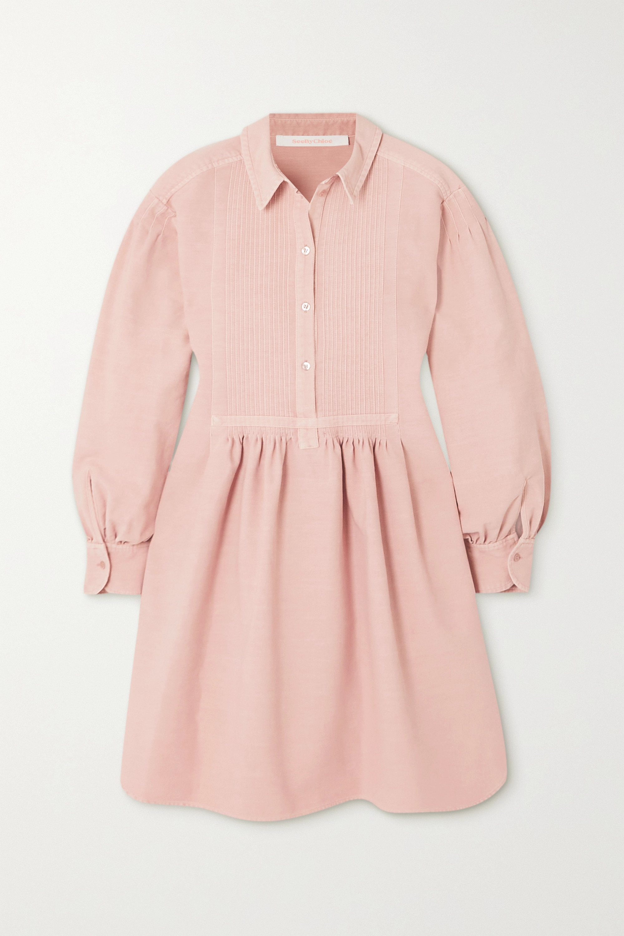 See By Chloé Oversized pintucked cotton mini shirt dress
