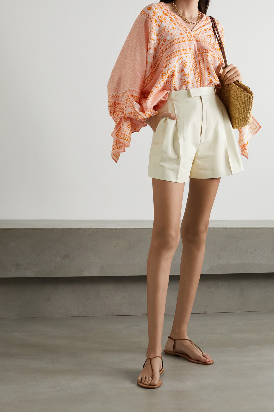 See By Chloé Tie-detailed printed silk blouse