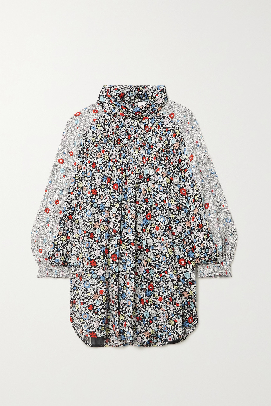 See By Chloé Patchwork floral-print crepe blouse