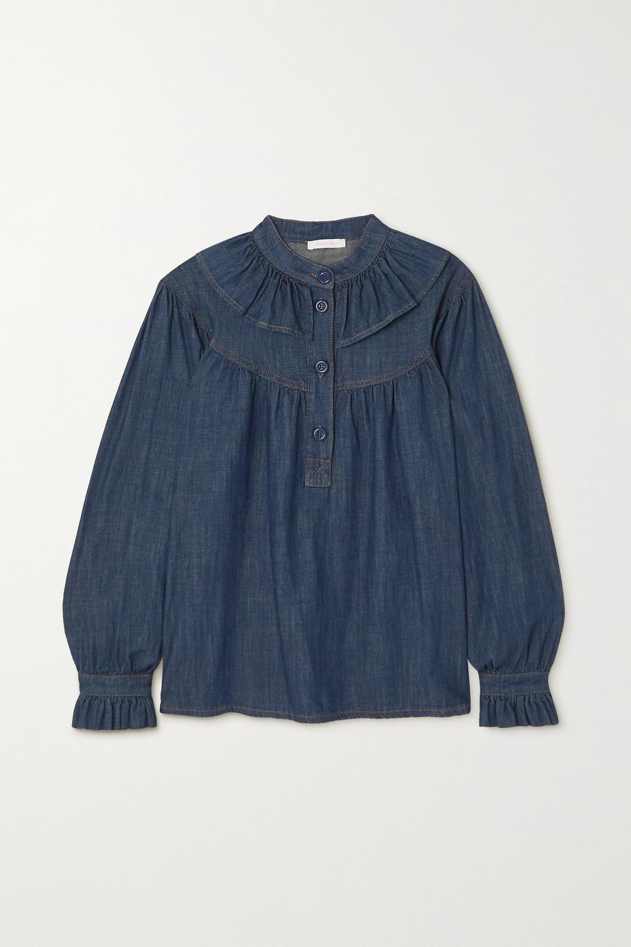 See By Chloé Ruffled denim blouse