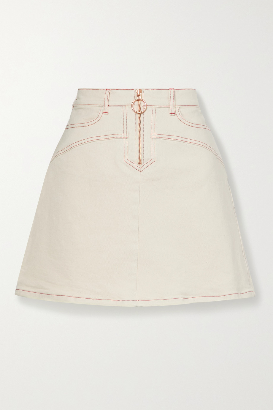 See By Chloé Topstitched denim mini skirt