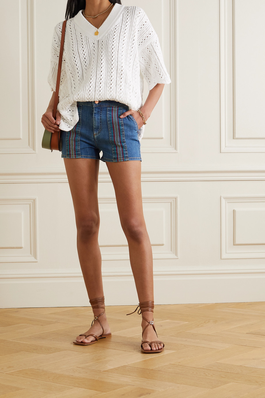 See By Chloé Striped denim shorts