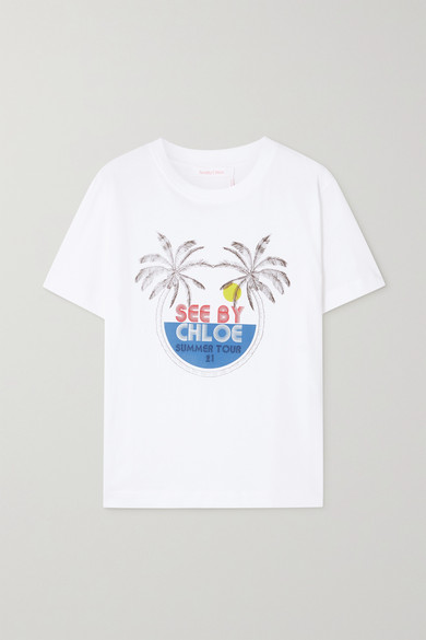 See By Chloé PRINTED COTTON-JERSEY T-SHIRT