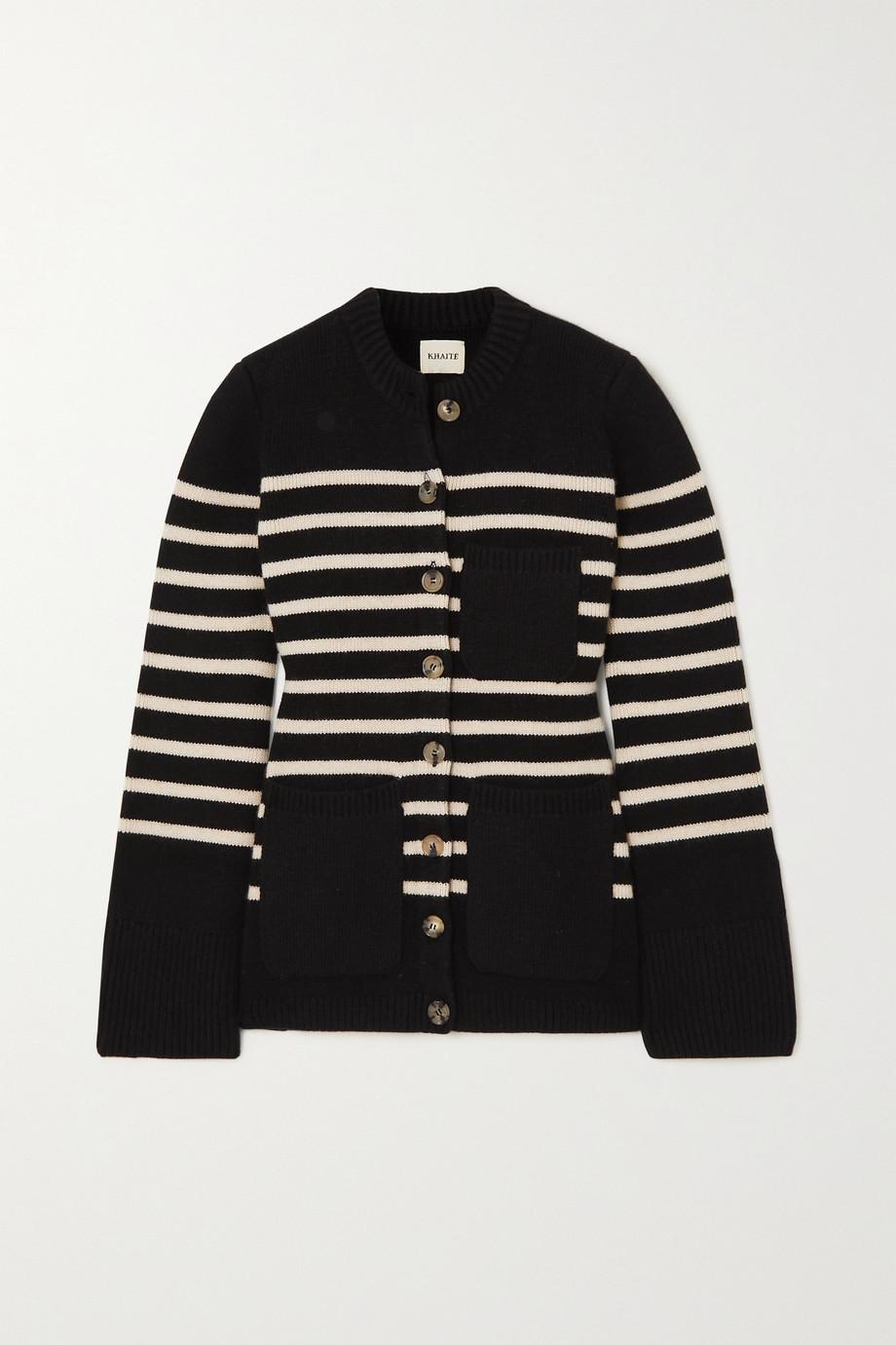 Khaite Suzette striped stretch-cashmere cardigan