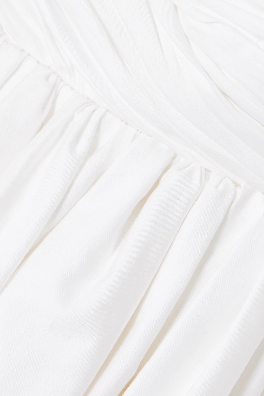 Khaite Mini-robe en popeline de coton à fronces et à cristaux Tracy