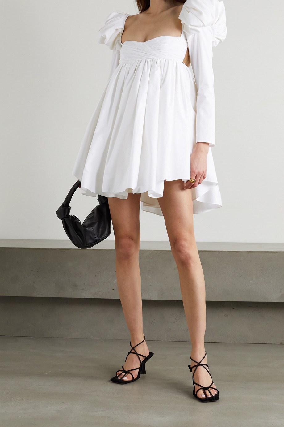 Khaite Tracy crystal-embellished ruched cotton-poplin mini dress