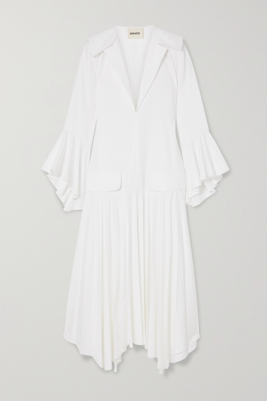 Khaite Tova asymmetrisches Kleid aus Baumwolle mit Falten