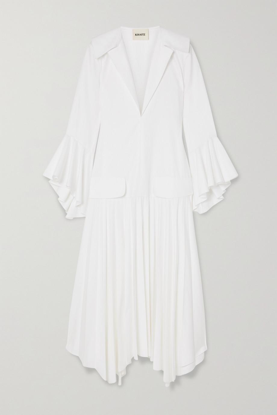 Khaite Tova asymmetric pleated cotton dress