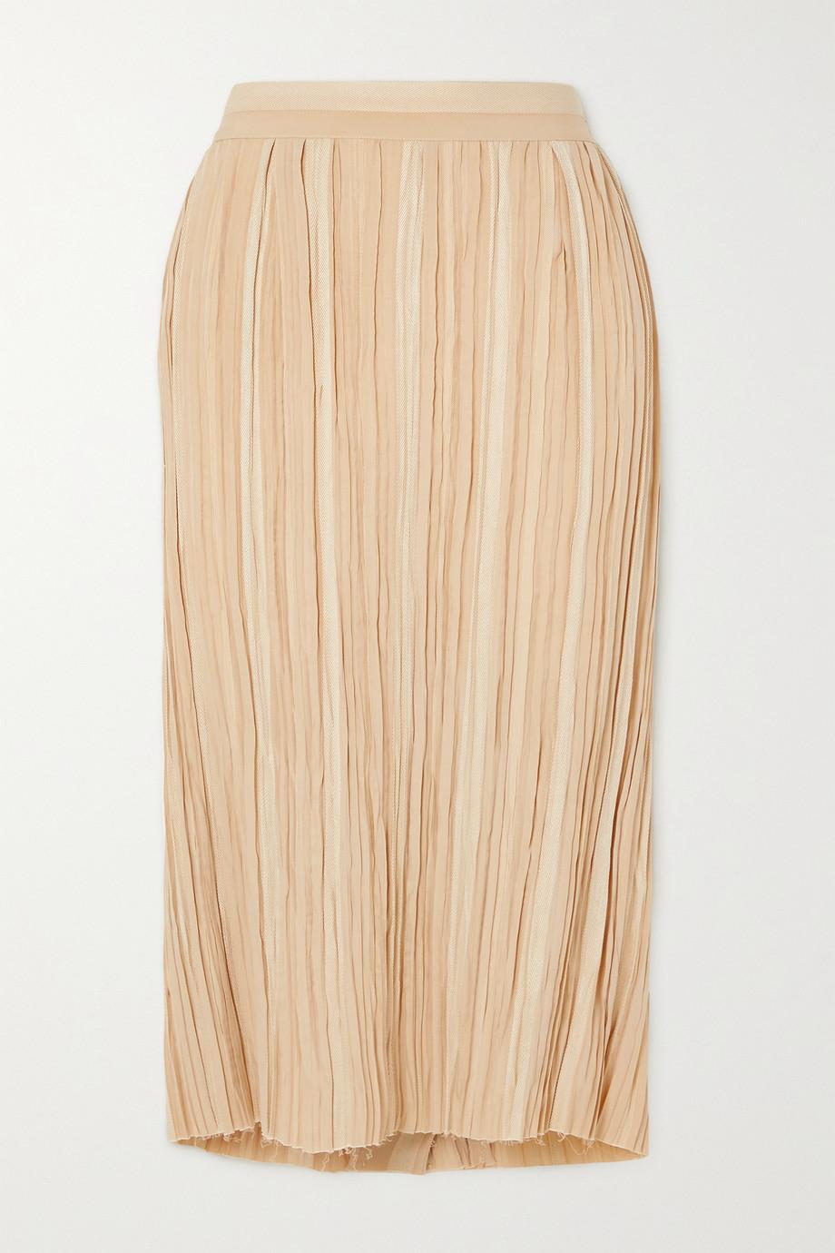 Khaite Sylvia frayed pleated striped jacquard midi skirt