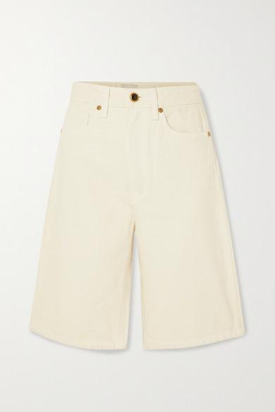 Khaite Mitch Denim Shorts In Ivory
