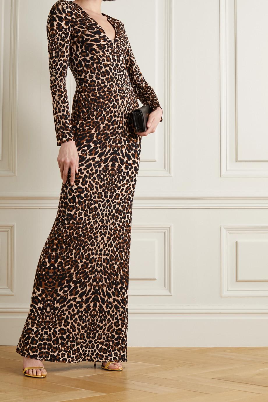 TOM FORD Twist-front leopard-print jersey maxi dress