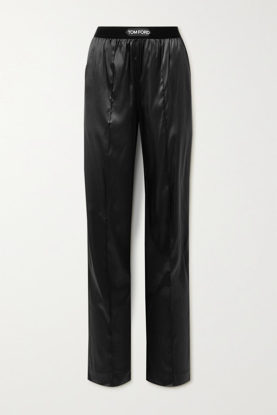 TOM FORD Velvet-trimmed stretch-silk satin pants