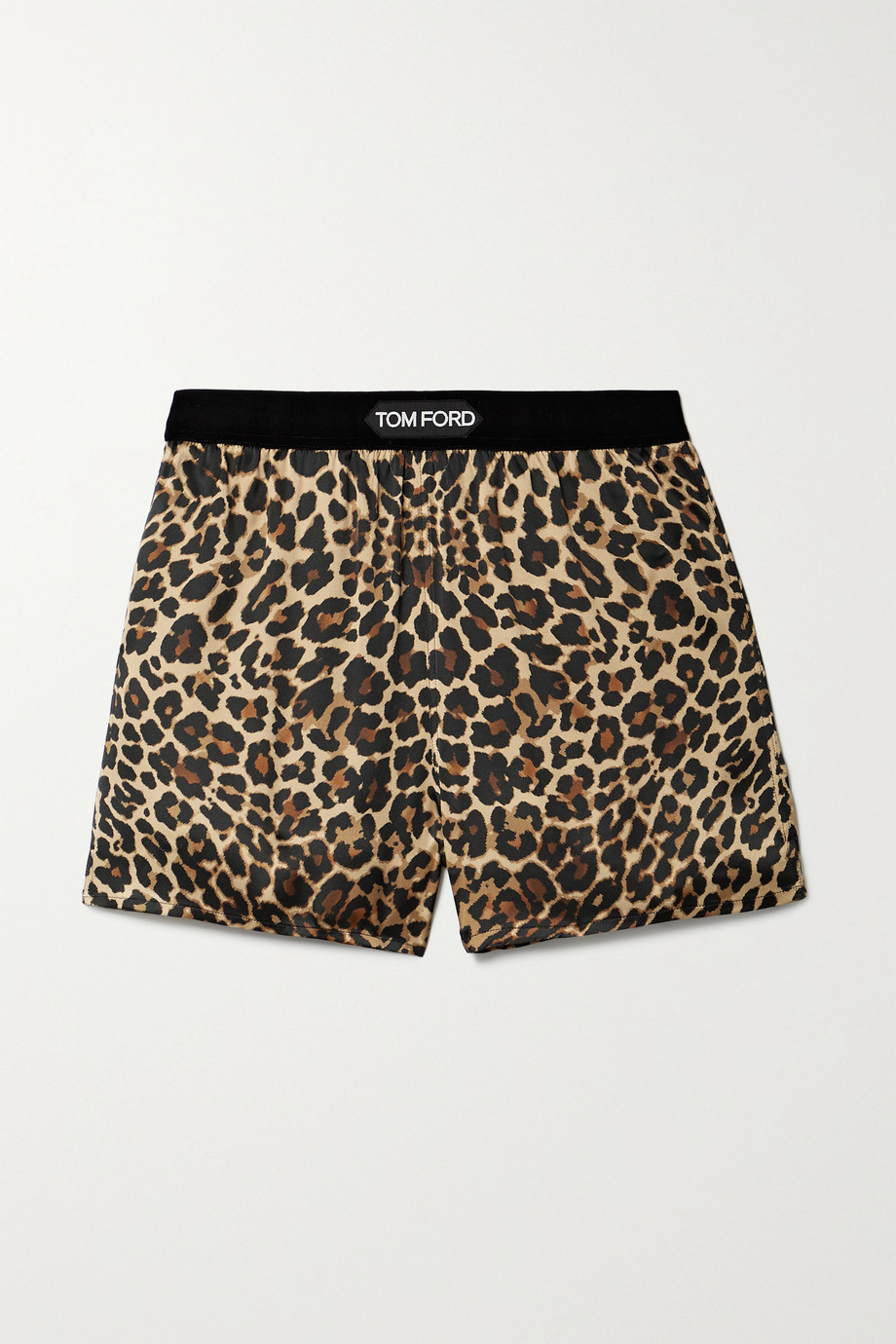TOM FORD Velvet-trimmed leopard-print silk-blend satin shorts