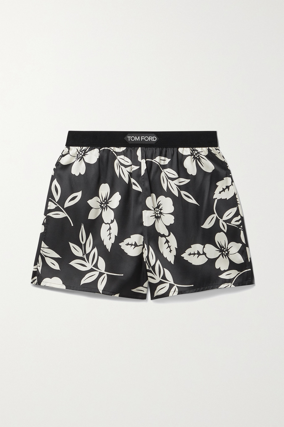 TOM FORD Velvet-trimmed floral-print silk-blend satin shorts