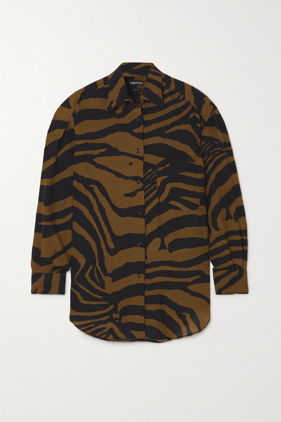 TOM FORD Oversized zebra-print Lyocell shirt