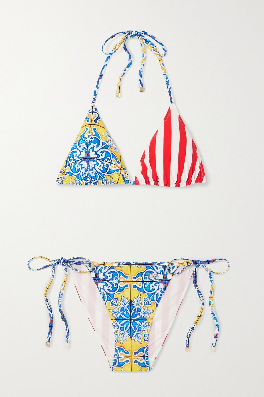 Dolce & Gabbana Printed triangle halterneck bikini