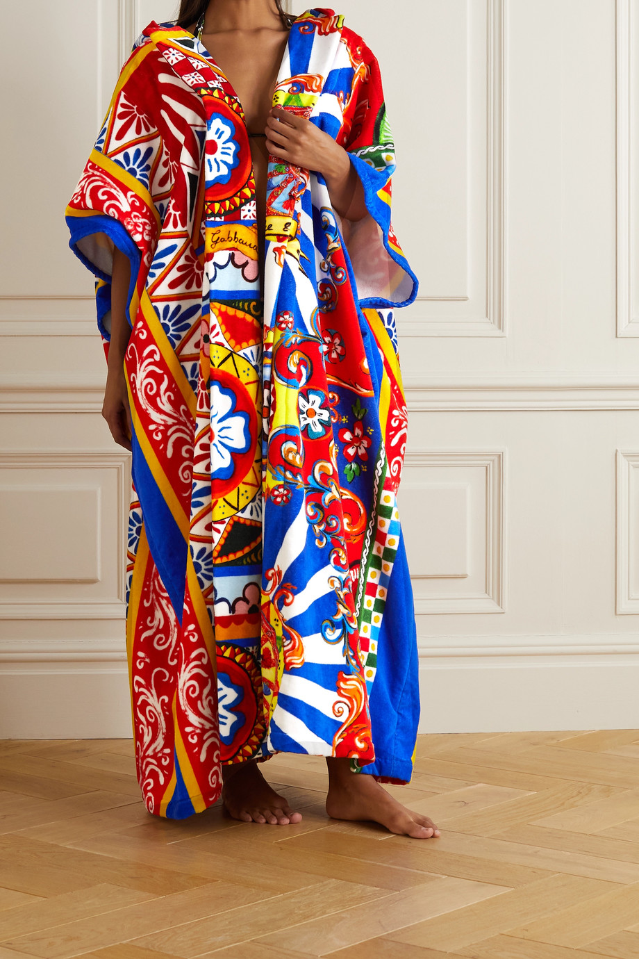 Dolce & Gabbana Oversized hooded printed cotton-terry robe