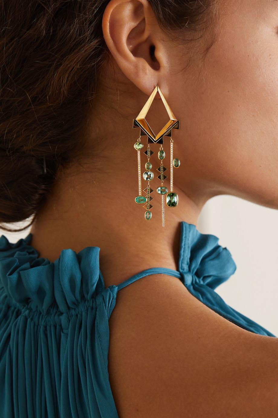 Lito Boucles d'oreilles en or 18 carats et pierres multiples Mia