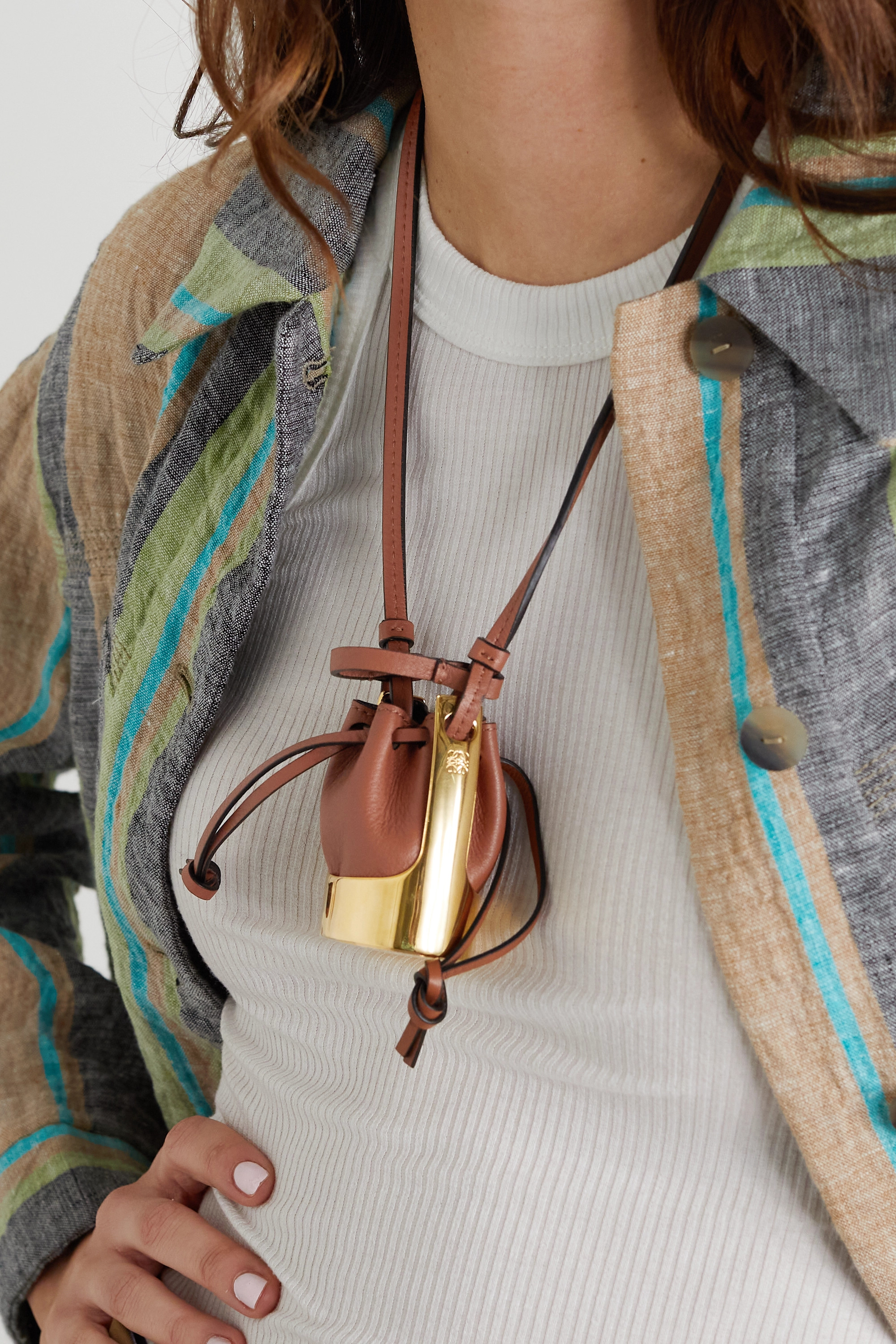 Loewe Balloon leather and gold-tone necklace