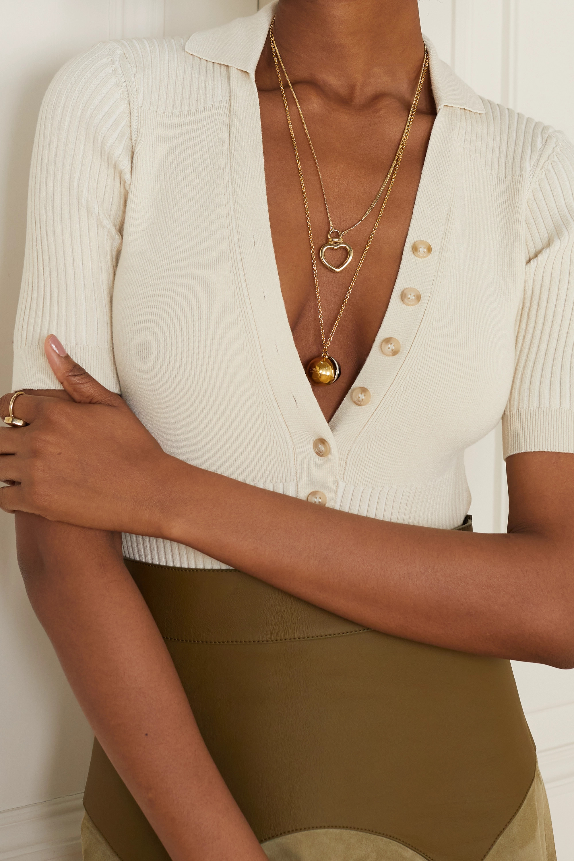 Loewe Gold- and silver-tone crystal necklace