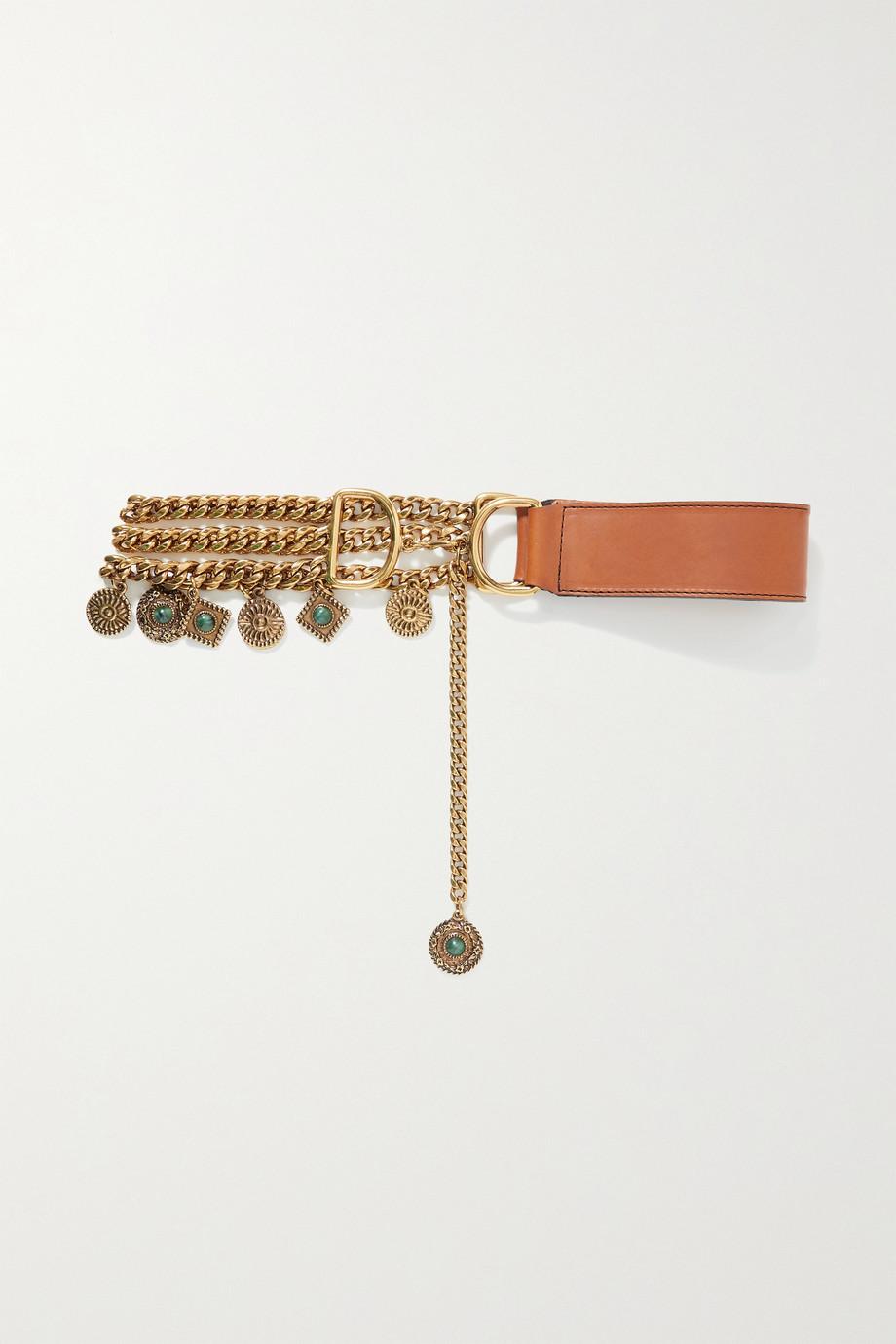 Etro Embellished gold-tone and leather waist belt