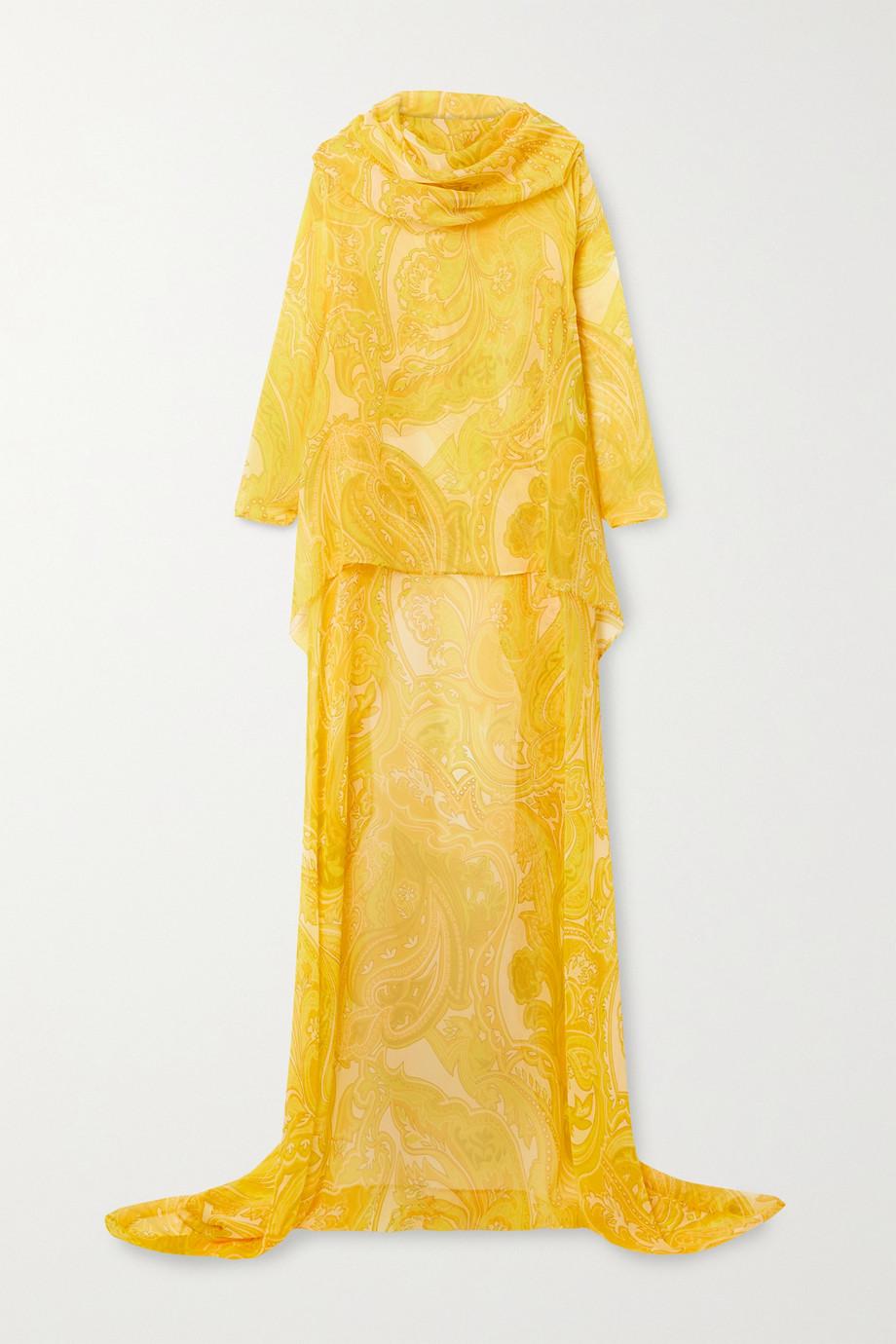 Etro Asymmetric hooded paisley-print silk-chiffon poncho