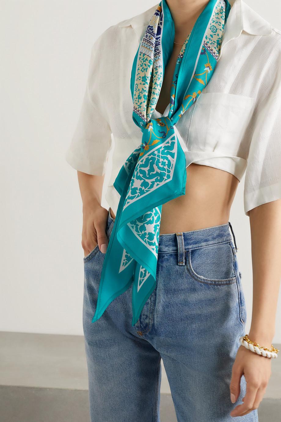 Etro Antibes printed silk-twill scarf