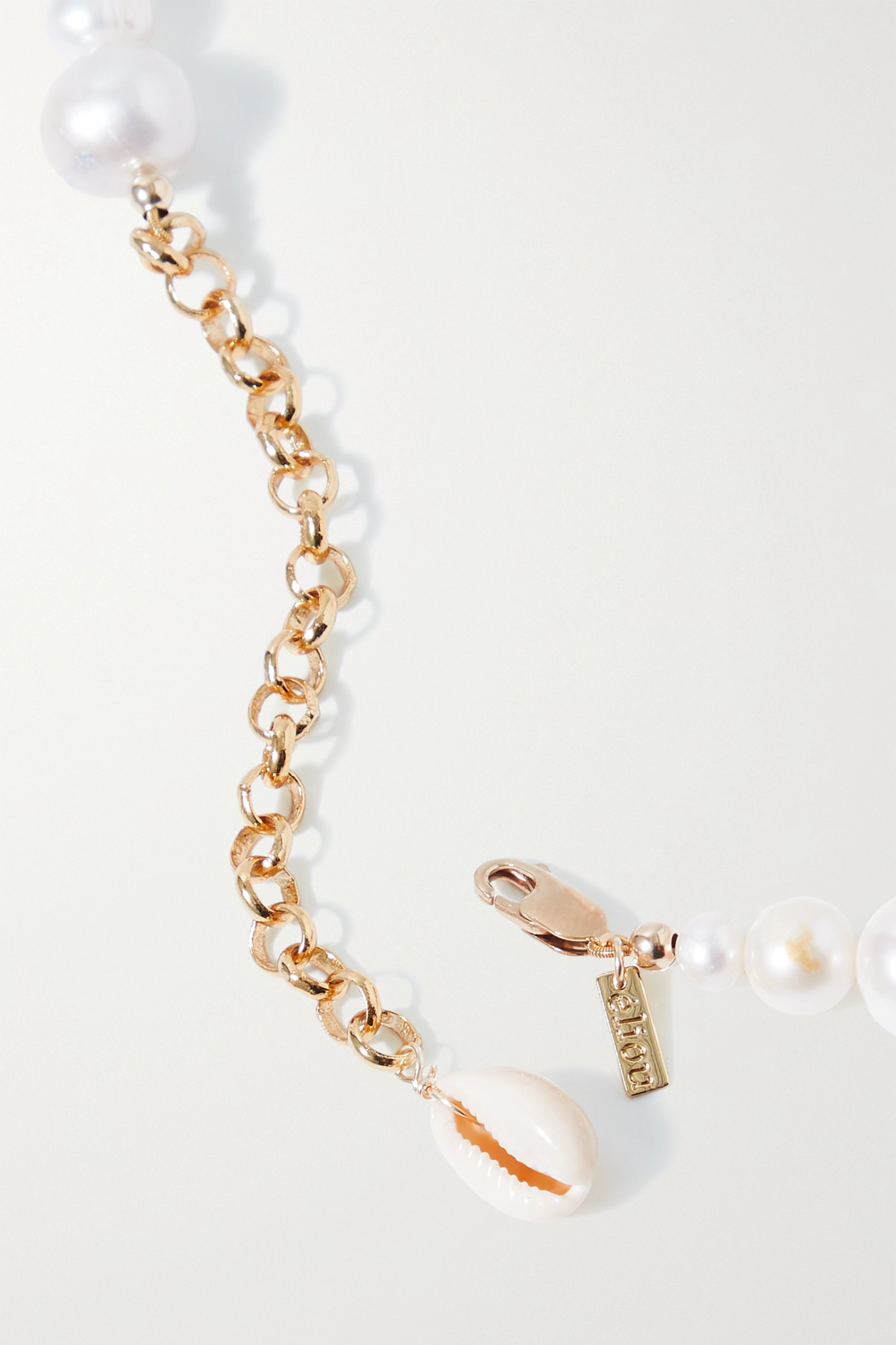 éliou Sirena gold-tone, pearl and shell necklace