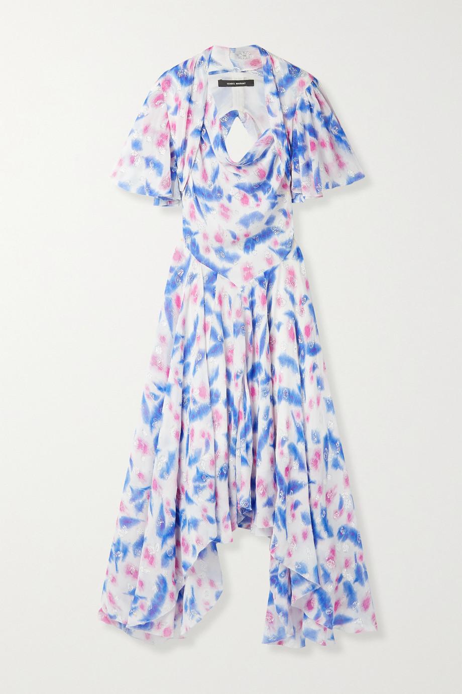 Isabel Marant Namala cutout printed fil coupé silk-blend crepon dress