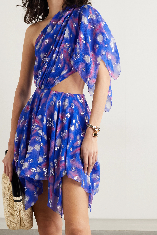Isabel Marant Noliaze one-sleeve cutout fil coupé silk-blend crepon mini dress