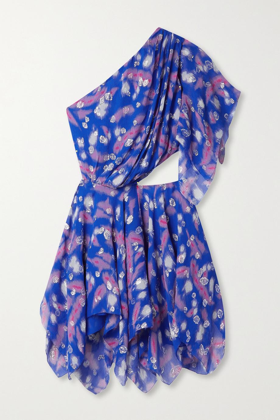 Isabel Marant Mini-robe asymétrique en crépon de soie mélangée à fil coupé et à découpe Noliaze