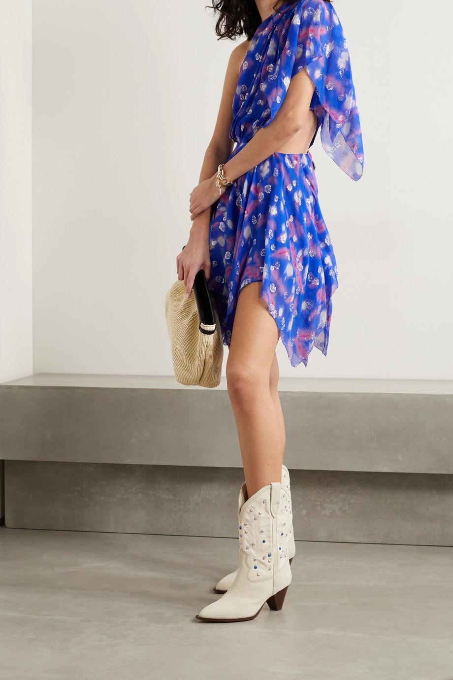 Isabel Marant Noliaze Minikleid aus Krepon aus einer Seidenmischung mit Fil Coupé, Cut-out und asymmetrischer Schulterpartie